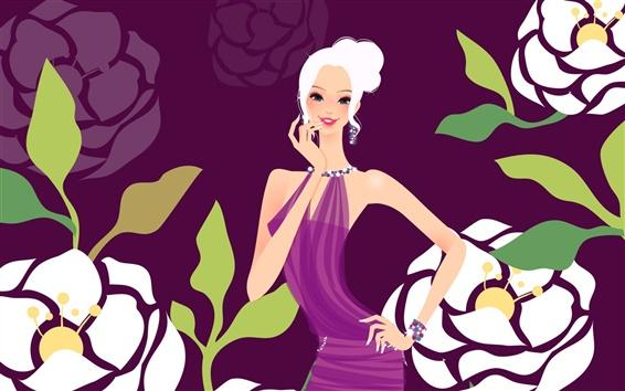Wallpaper Purple dress fashion girl vector