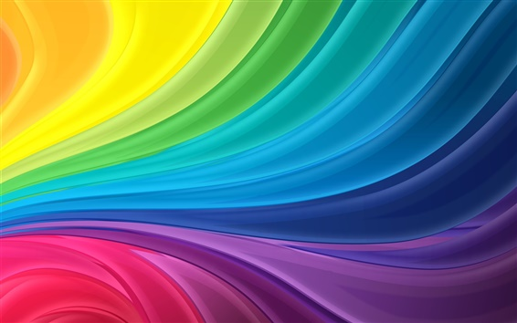 Wallpaper Rainbow stripes abstract wave