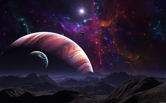 Fond d'écran Planète rouge et la planète bleue