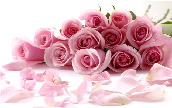 Обои Романтический букет из розовых роз