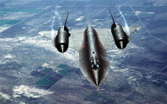 Wallpaper SR-71 blackbird flying clouds