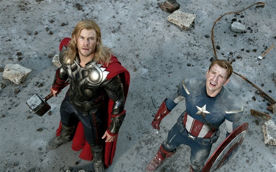 Wallpaper Thor and Captain America in The Avengers