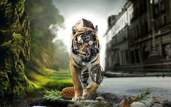 Wallpaper Tiger robot