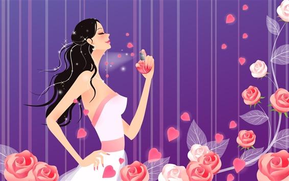 Wallpaper Vector girl fashion perfume
