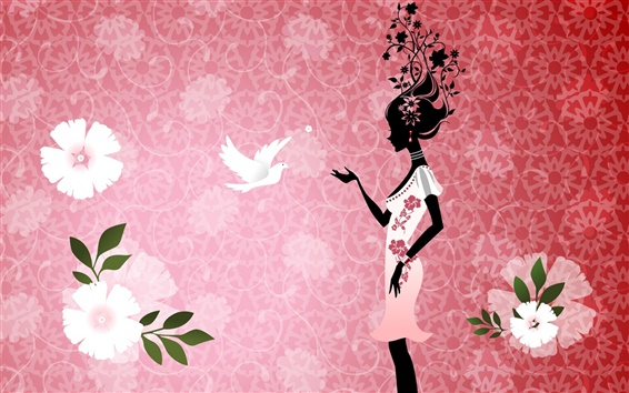 Wallpaper Vector girl with pigeons