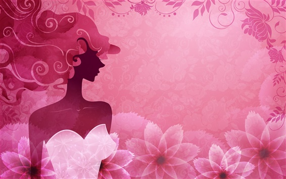 Wallpaper Vector woman pink stylish