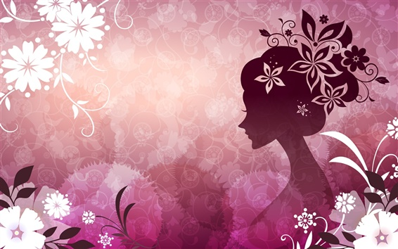 Wallpaper Vector woman with flowers pink theme