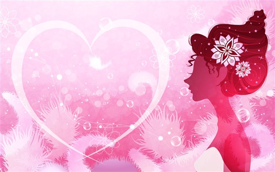 Wallpaper Vector women and love heart-shaped