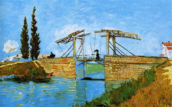 Papéis de Parede Vincent van Gogh: Ponte de Langlois em Arles com mulheres lavando