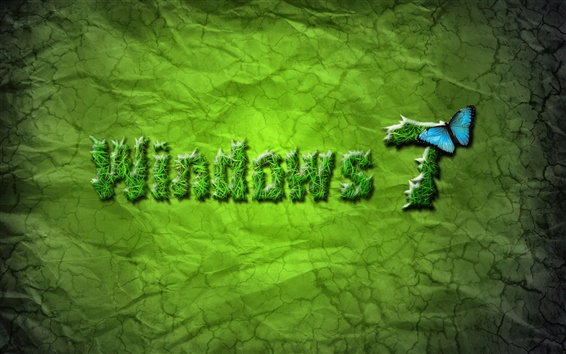 Wallpaper Windows 7 green and butterfly