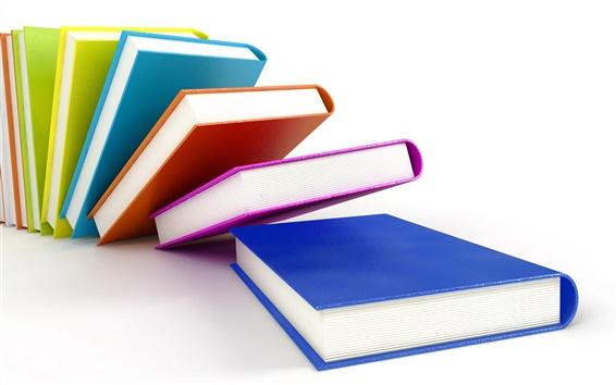 Обои 3D красочные обложки книг