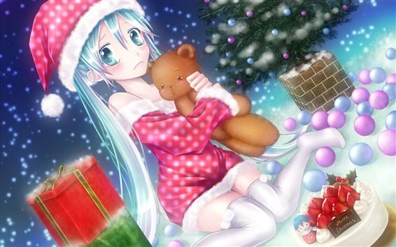 Обои Аниме девушка на Рождество