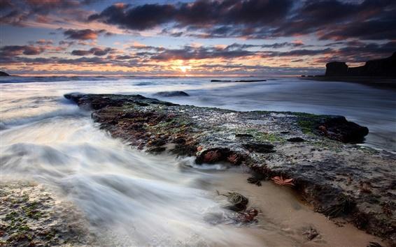 Fond d'écran Beau coucher de soleil du littoral