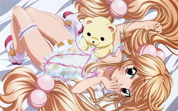 Wallpaper Bed of golden hair anime girl