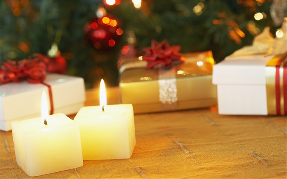 Wallpaper Christmas candles and gifts