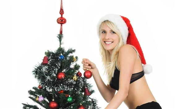 Fondos de pantalla Navidad niña y el árbol de Navidad