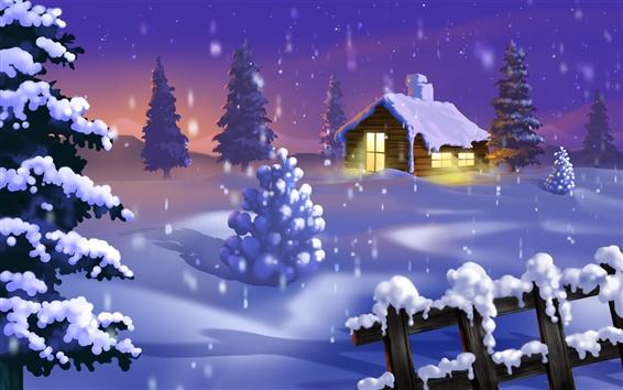 Wallpaper Christmas house and snow