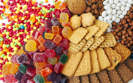 Wallpaper Colored candy and cookies