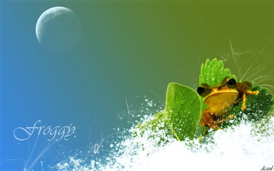 Wallpaper Creative design frog and water