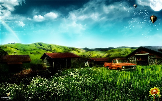 Wallpaper Dream home house and truck