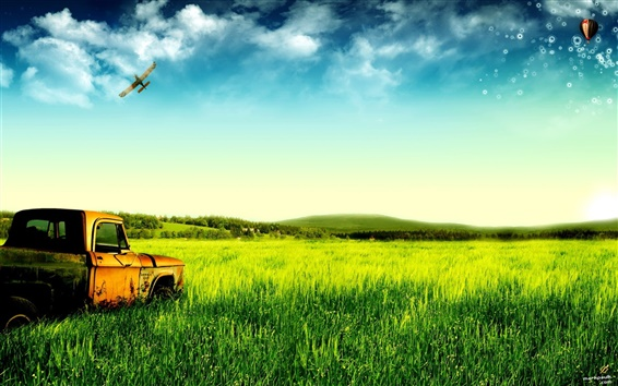 Wallpaper Dream of green pastures and old trucks