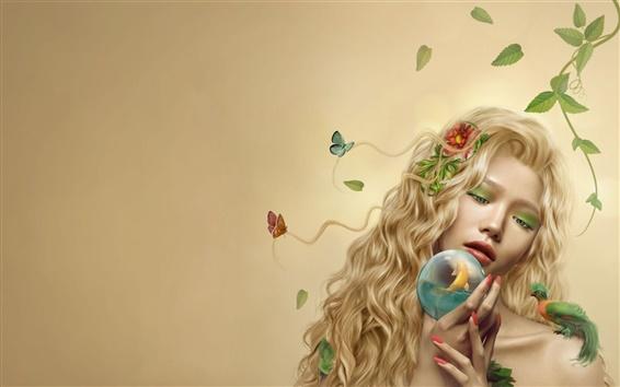 Wallpaper Fantasy girl leaves and fish