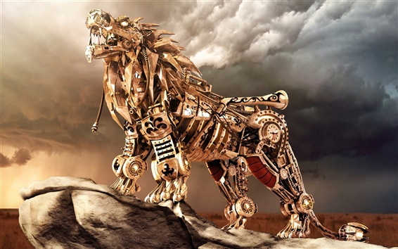 Wallpaper Fantasy iron wolf