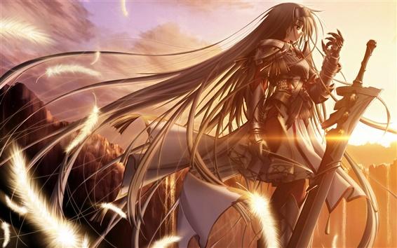 Wallpaper Golden sun anime girl