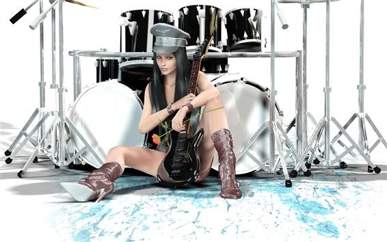 壁紙 異なるギタードラムファンタジーの女の子のスタイル