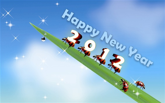 Papéis de Parede Happy New Year 2012 folhas e joaninhas