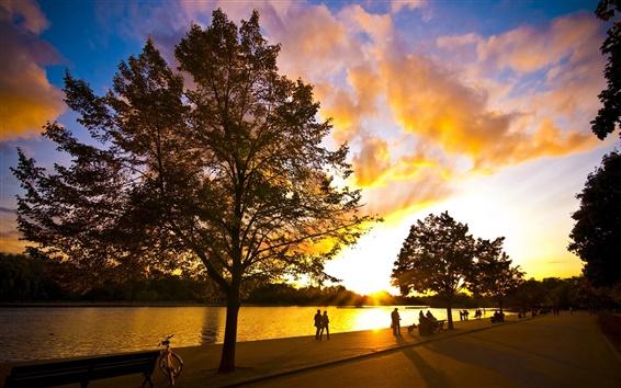 Papéis de Parede Lago sunset crepúsculo
