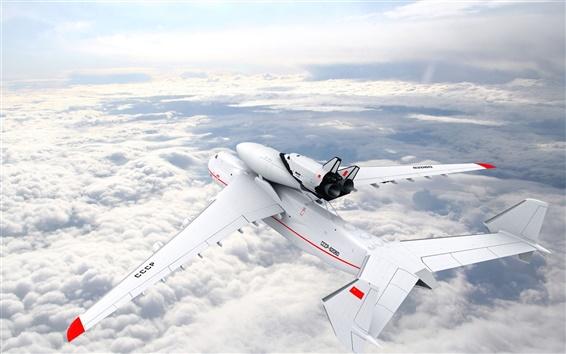 배경 화면 구름을 타고 비행 대형 항공기