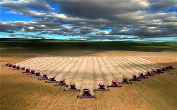 배경 화면 기계 수확 밀 필드 풍경