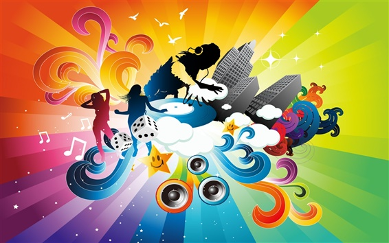Wallpaper Music Colorful dynamic vector