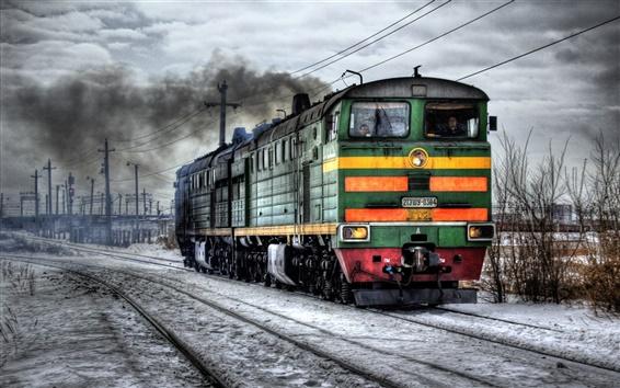 Wallpaper Railroad locomotive winter