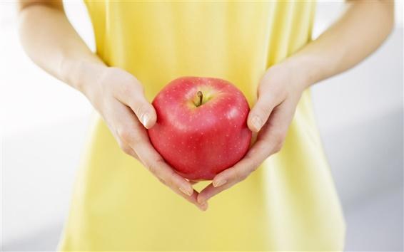Fond d'écran Pomme rouge dans la paume de la main
