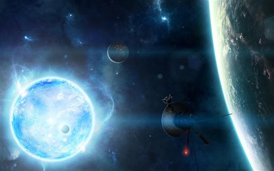 Обои Спутниковое блестящие планеты