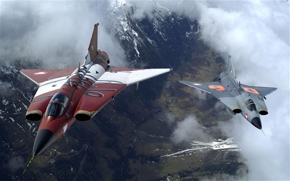 Wallpaper The two military fighter jets flying together