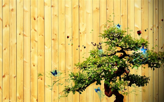 Wallpaper Tree and butterfly creative images