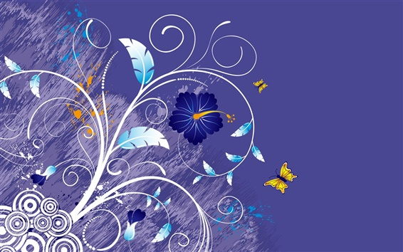 Wallpaper Vector background of flowers and butterflies