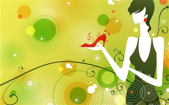 Wallpaper Vector girl fashion Green Theme