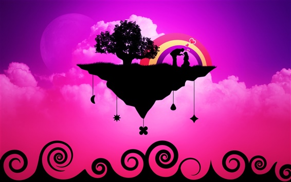 Wallpaper Vector love purple theme