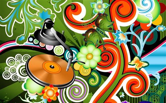 Обои Векторные музыка живых цветов