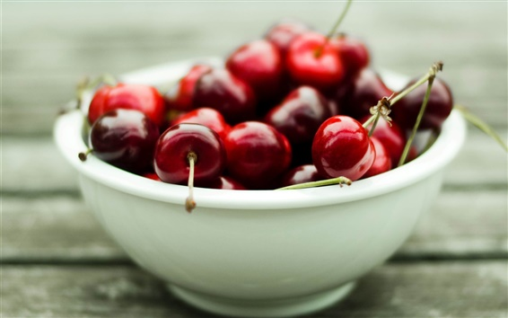 Wallpaper A bowl of delicious red cherry