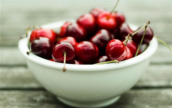 배경 화면 맛있는 붉은 벚꽃의 그릇