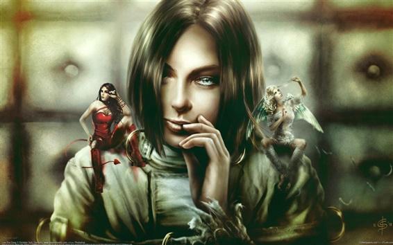 Hintergrundbilder Engel, Teufel, Fantasy Girl