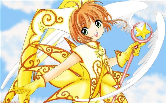 Wallpaper Anime girl dress golden magic