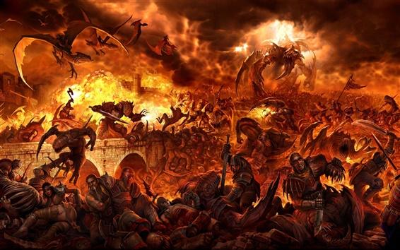 배경 화면 전투 용 화재 사람과 괴물