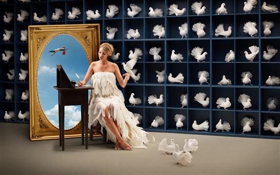 Fond d'écran Belle fille avec des pigeons