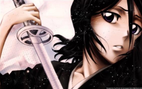 배경 화면 칼을 들고 검은 머리 애니메이션 여자